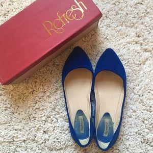 Shoes - Velvet Pointed Toe Flats 8.5
